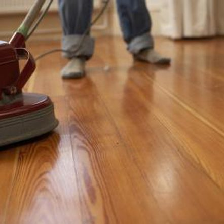 buffing a wood floor