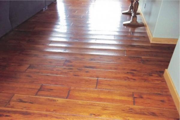 water damage on wood floor