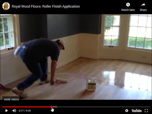 Wood Floor Recoating   Roller Finish Application